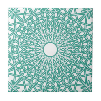 Aqua Blue Crocheted Lace Tile