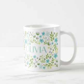 Aqua Blue Custom Name Pretty Floral Girly Mug