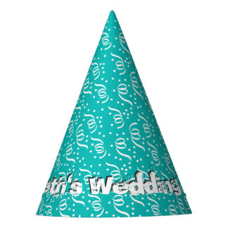 Aqua Blue Custom Party Streamers Wedding Party Party Hat