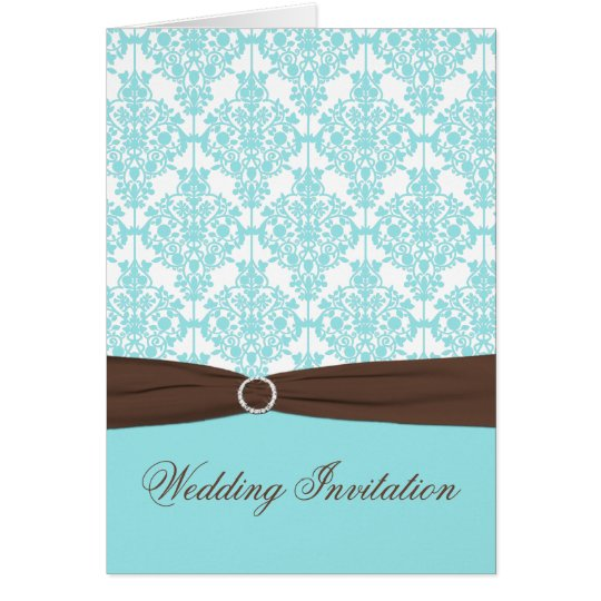 Aqua Blue Damask Card Style Wedding Invite