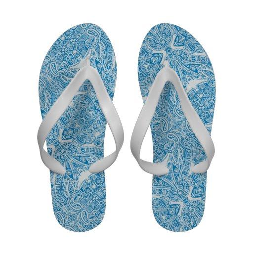 Aqua Blue Damask Flip Flops