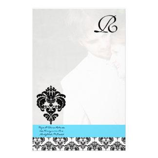 Aqua Blue Damask Monogram Wedding Personalized Stationery