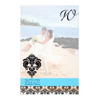 Aqua Blue Damask Monogram Wedding Stationery Paper