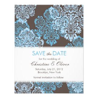 Aqua Blue Damask Save the Date Invite