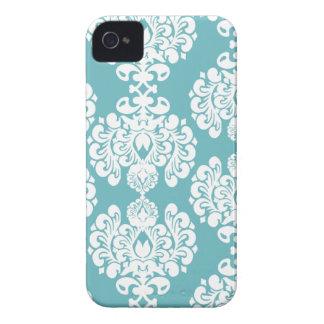 Aqua blue damask stylish pattern blackberry bold iPhone 4 Case-Mate case