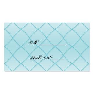 Aqua Blue Diamond Pattern Wedding Place Cards Business Cards