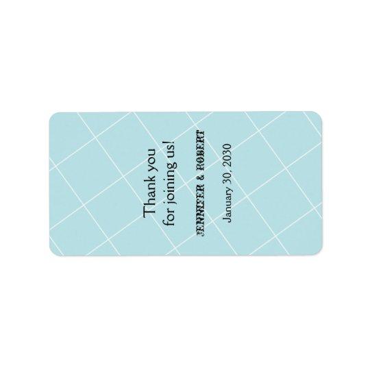 Aqua Blue Diamond Wedding Lip Balm Label