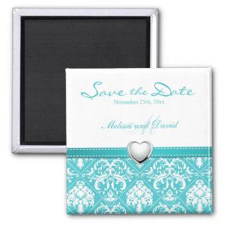 Aqua Blue Elegant Damask Save the Date Square Magnet