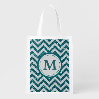 Aqua Blue Faux Glitter Monogram Reusable Grocery Bag