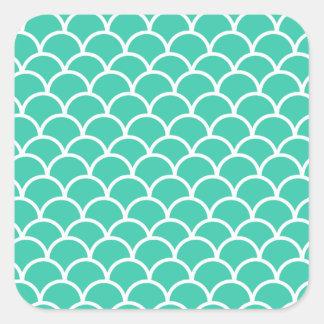 Aqua Blue Fish scale pattern Square Sticker