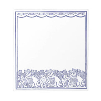 Aqua Blue Fishes Border Notepads