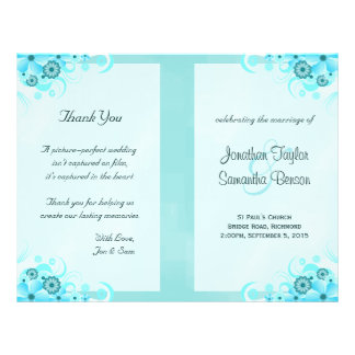 Aqua Blue Floral BiFold Wedding Program Templates 21.5 Cm X 28 Cm Flyer