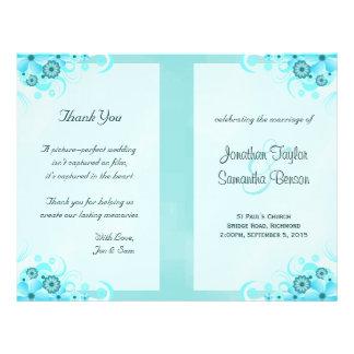 Aqua Blue Floral BiFold Wedding Program Templates Flyer