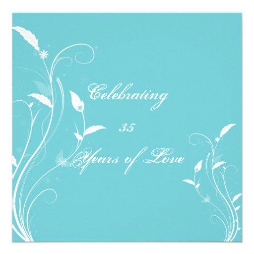 Aqua Blue Floral Filigree Anniversary Personalized Invite