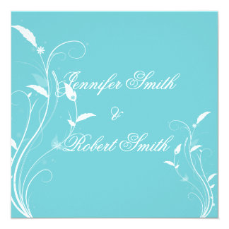 Aqua Blue Floral Filigree Wedding 13 Cm X 13 Cm Square Invitation Card