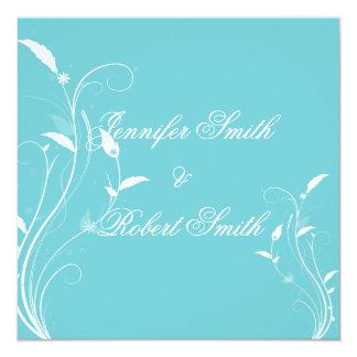 Aqua Blue Floral Filigree Wedding Invitation