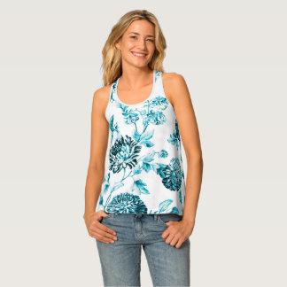 Aqua Blue Floral Toile Women's Tank Top