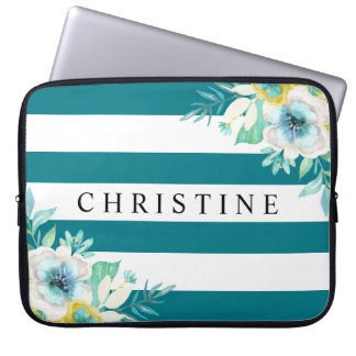 Aqua Blue Floral Watercolor White Stripe Laptop Sleeve