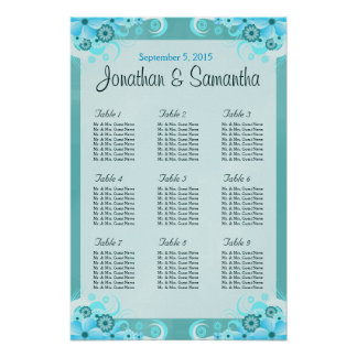 Aqua Blue Floral Wedding Table Seating Charts Poster