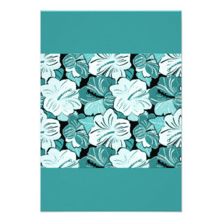 AQUA BLUE FLOWERY HIBISCUS FLOWERS BACKGROUND PAT ANNOUNCEMENT
