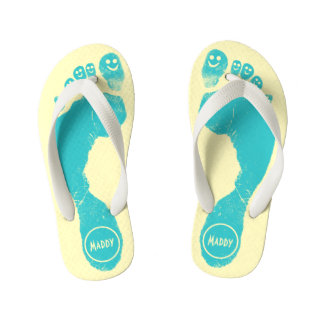 Aqua Blue Footprints Smiley-Toes™ Happy Sun Yellow Thongs
