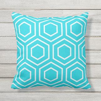 Aqua Blue Geometric Pattern Outdoor Pillows Cushion