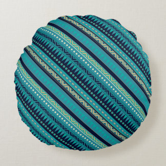 Aqua Blue Geometric Tribal Stripes Pattern Round Cushion