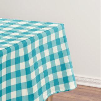 Aqua Blue Gingham Cotton Tablecloth