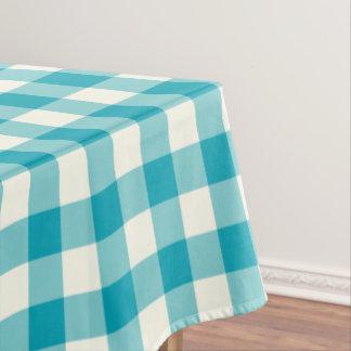 Aqua Blue Gingham Pattern Check Tablecloth