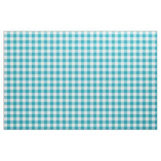 Aqua Blue Gingham Pattern Fabric