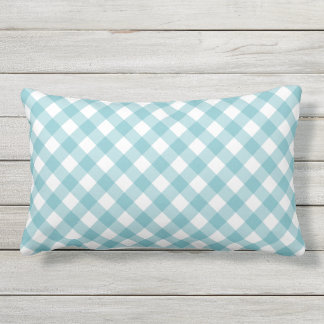 Aqua Blue Gingham Pattern Lumbar Cushion