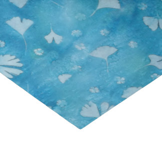 Aqua Blue Ginkgos and Flowers Sunprints Tissue Paper