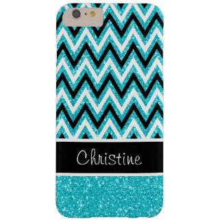Aqua Blue Glitter Black Chevron iPhone 6 Plus Case