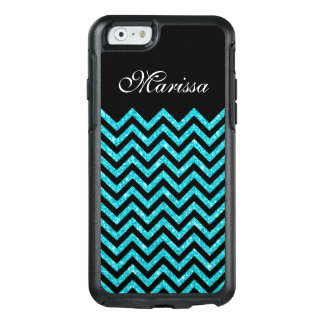 Aqua Blue Glitter Black Chevron OtterBox iPhone 6/6s Case