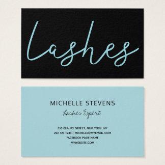 Aqua blue glitter black lash technician typography business card