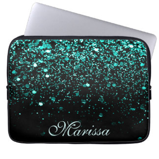 Aqua Blue Glitter Girly Trendy Modern Black Laptop Sleeve