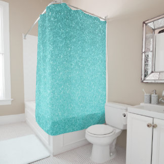 Aqua Blue Glitter Sparkle Girly Glam Mermaid Shower Curtain