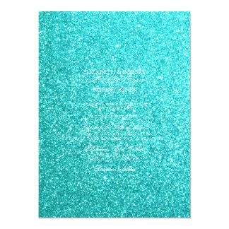 Aqua Blue Glitter with White Details 14 Cm X 19 Cm Invitation Card