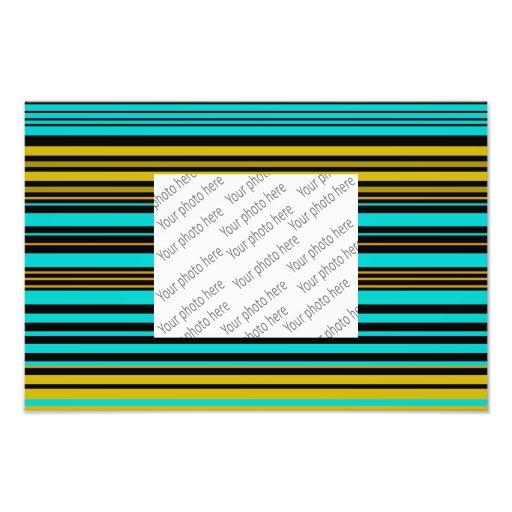 Aqua blue gold and black stripes photo print
