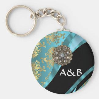Aqua blue & gold damask faux crystal key ring