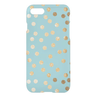 Aqua Blue Gold Glitter Dots Clear Phone Case