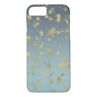 Aqua Blue Gold Ombre Stars iPhone 8/7 Case