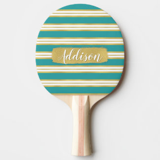 Aqua Blue Gold Stripe Pattern Custom Name Ping Pong Paddle