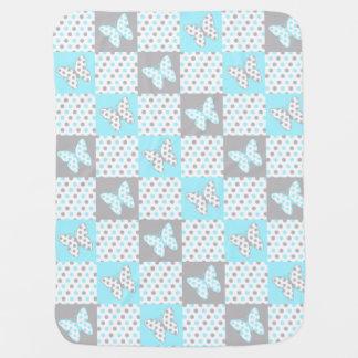 Aqua Blue Gray Grey Butterfly Polka Dot Girl Baby Blanket