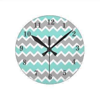 Aqua Blue Gray Grey Chevron Print Pattern Girl Round Clock