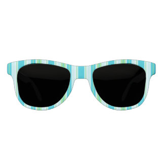 Aqua Blue, Green and White Stripes Sunglasses