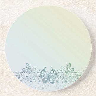 Aqua Blue Green Delicate Butterfly Coaster