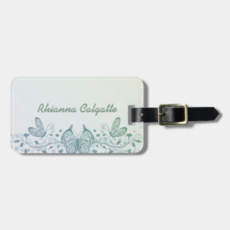 Aqua Blue Green Delicate Butterfly Luggage Tag
