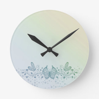Aqua Blue Green Delicate Butterfly Round Clock