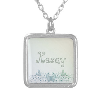 Aqua Blue Green Delicate Butterfly Silver Plated Necklace
